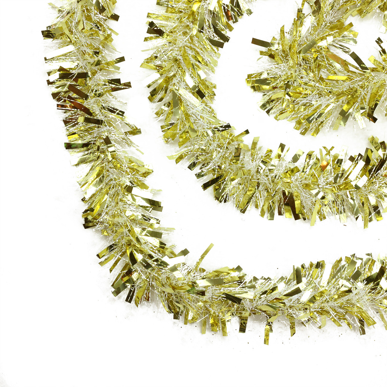 50 gold and white wide cut christmas tinsel garland unlit 32273995