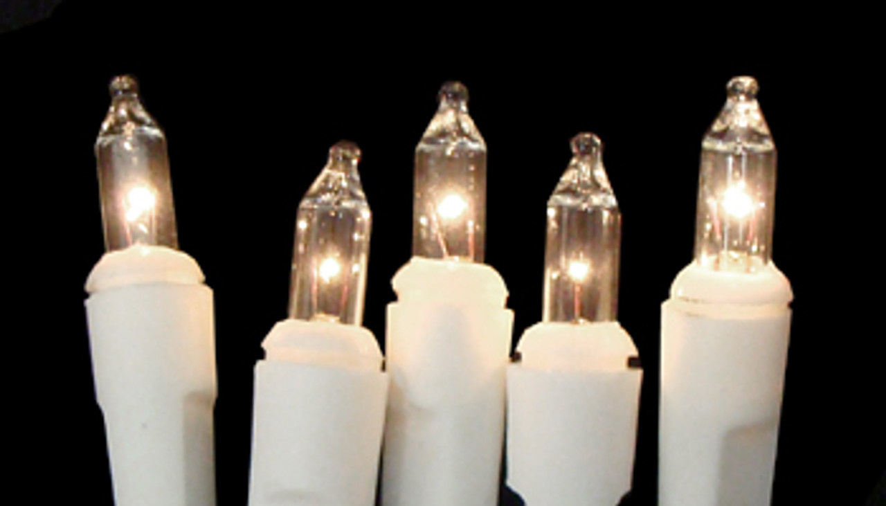 Set of 20 Battery Operated Clear Mini Christmas Lights - White Wire ...