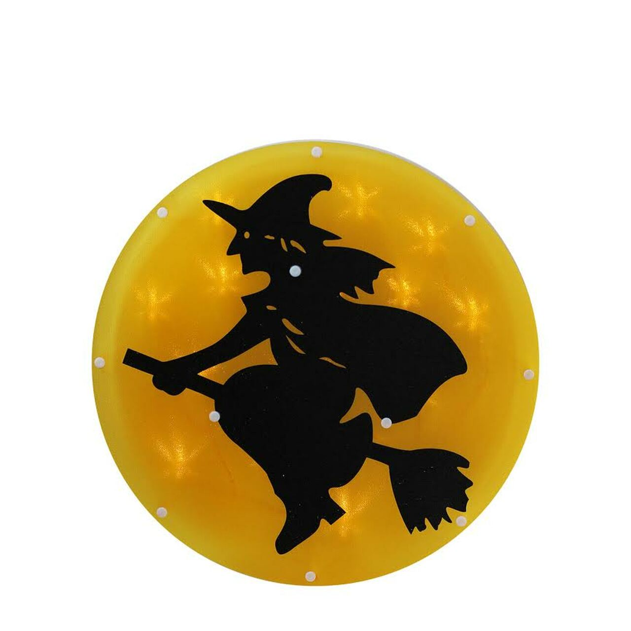 13 75 Quot Led Lighted Witch On Broom With Moon Halloween