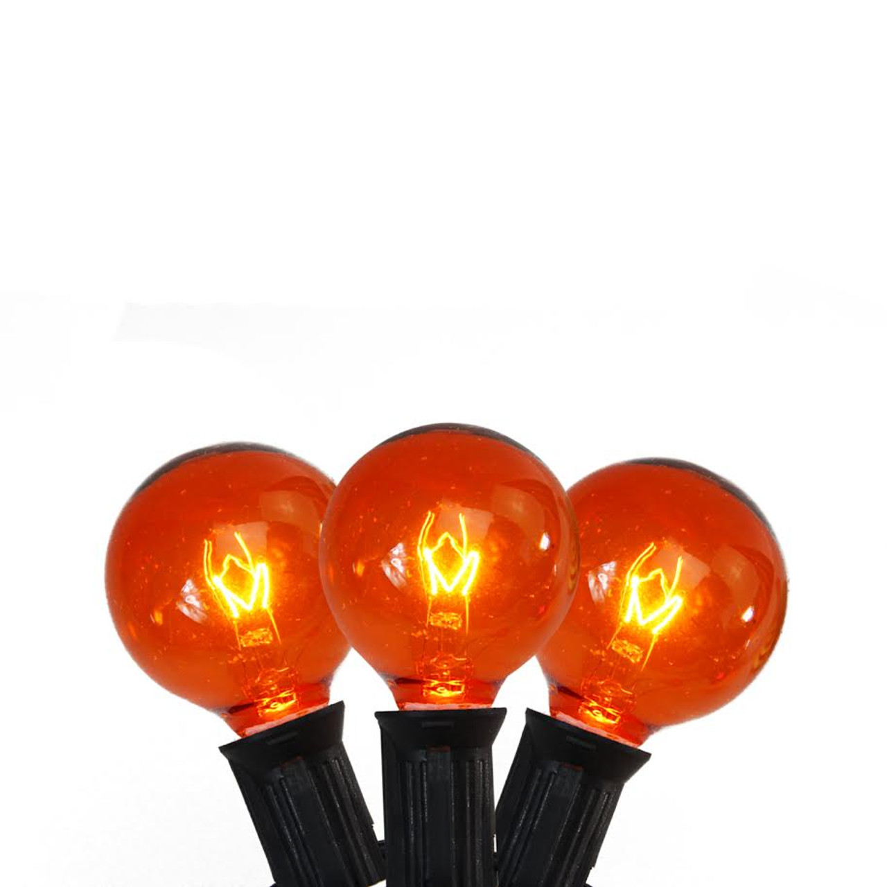 set of 10 transparent orange g40 globe halloween lights black wire 32275015