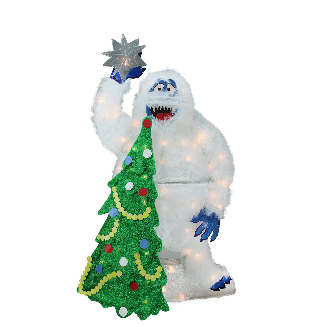 32 pre lit faux fur bumble with tree and star christmas outdoor decoration 32275405
