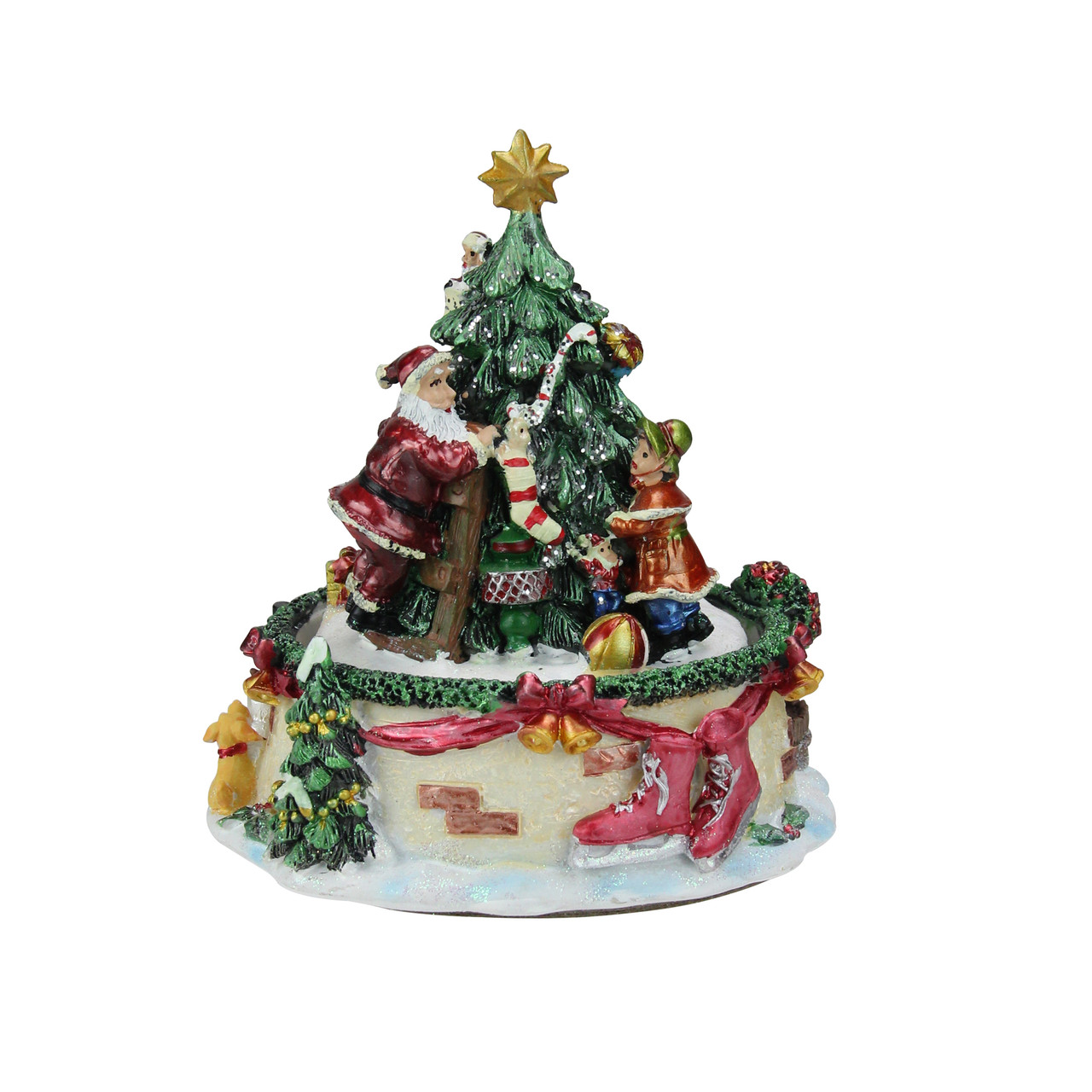 6 animated santa claus and christmas tree winter scene rotating music box 32259944 - Animated Christmas Scene Decorations