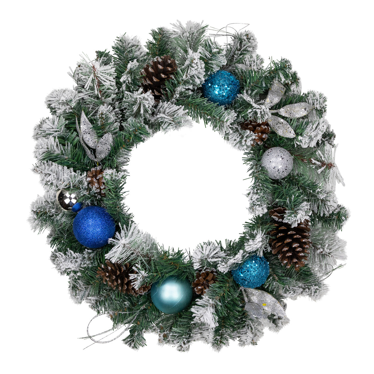 24 teal and silver ornaments artificial flocked pine christmas wreath unlit 32275673 - Teal And Silver Christmas Decorations