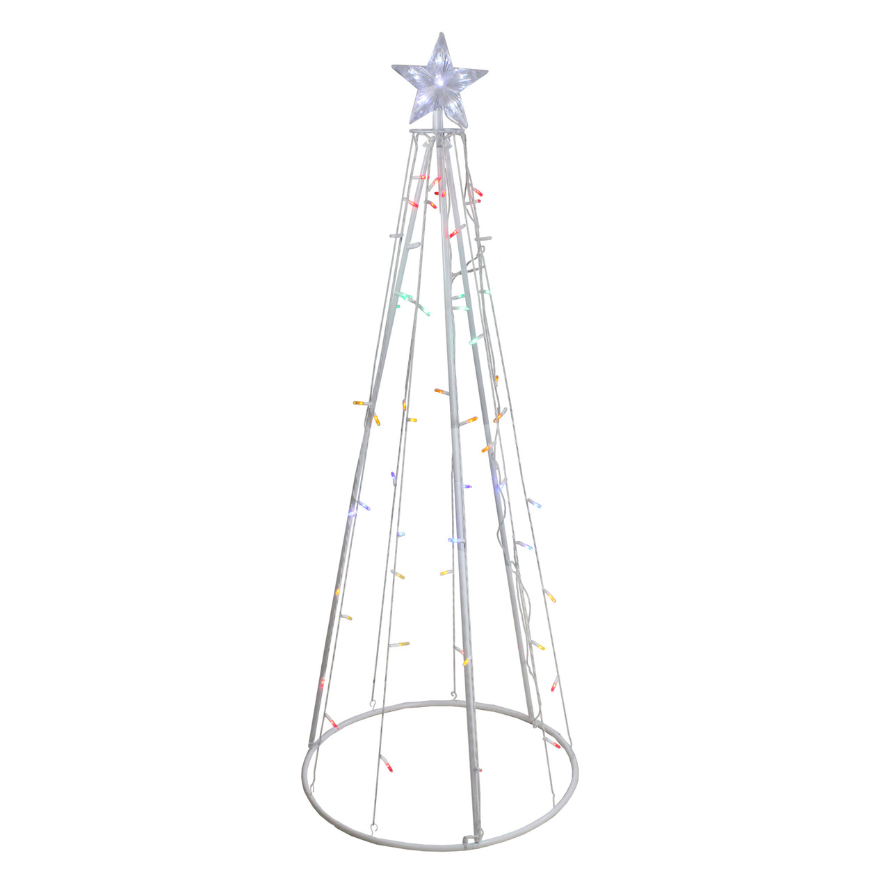 5 Multi Color Led Lighted Show Cone Christmas Tree Outdoor