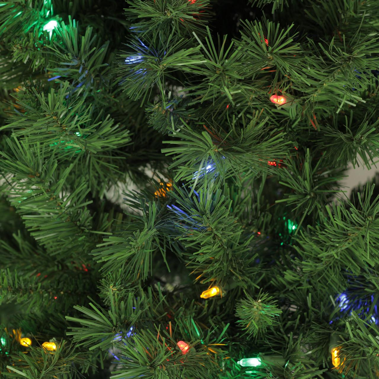7\' Pre-Lit Single Plug Slim Glacier Pine Artificial Christmas Tree ...