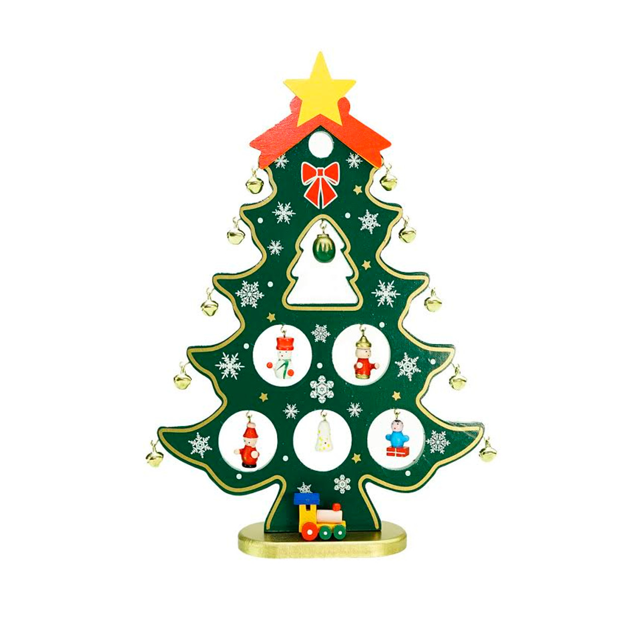 1125 wooden christmas tree cut out with miniature ornaments table top decoration 32259768