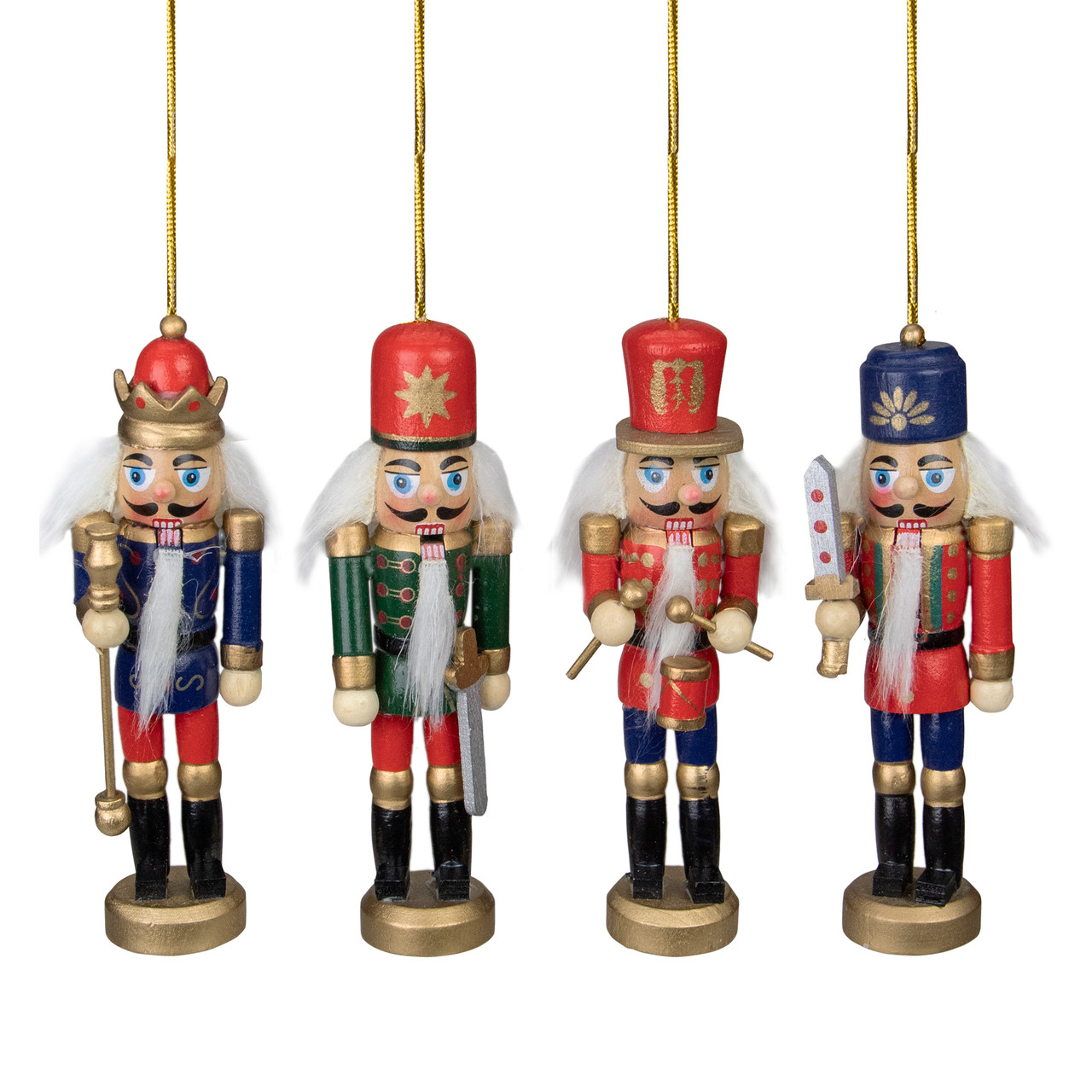 Pack of 4 Red, Blue & Green Decorative Wooden Christmas Nutcracker ...