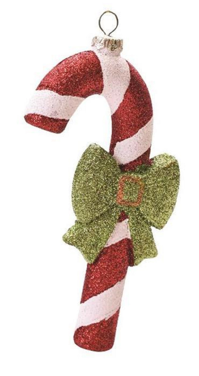 55 merry bright red white and green glitter shatterproof candy cane christmas ornament 32256727