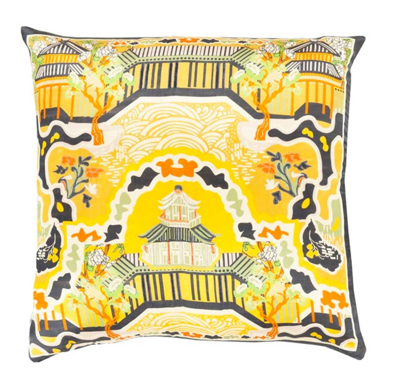 22 dream castle butterscotch yellow orange and black decorative square throw pillow down
