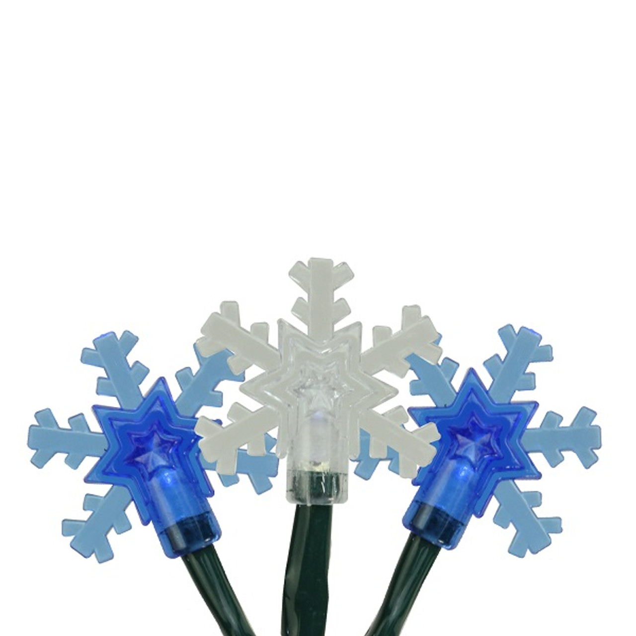 set of 10 blue and white snowflake led christmas lights green wire 32277545