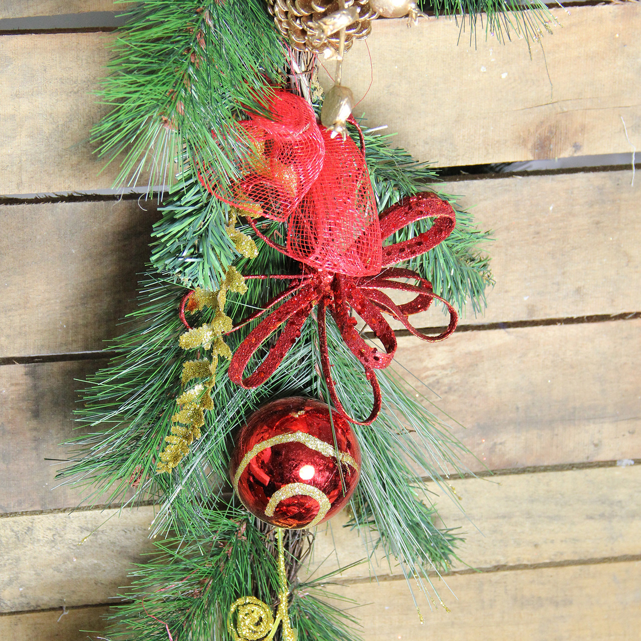 6 x 10 red burlap and gold pinecone artificial christmas garland unlit 32277498 - Burlap Christmas Garland