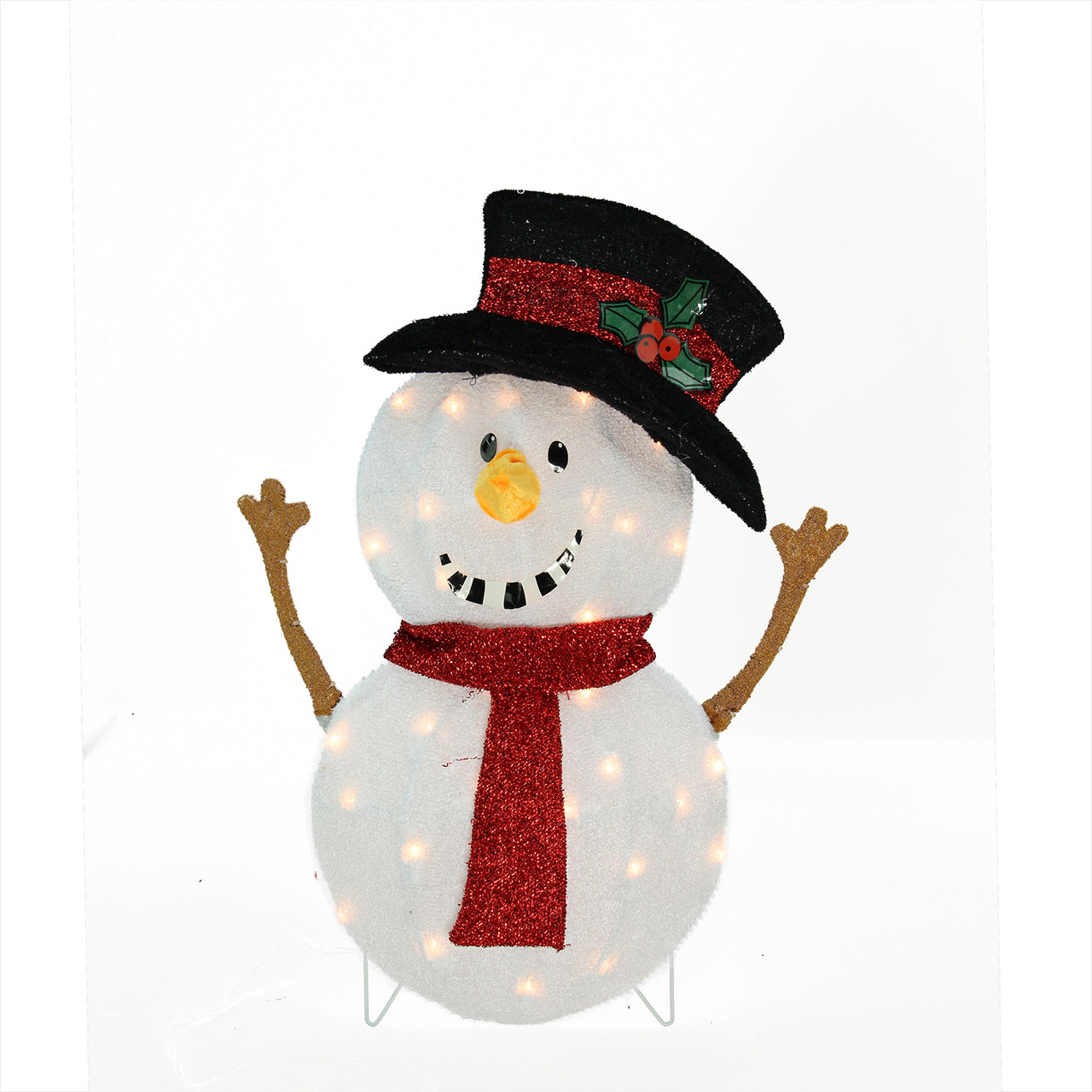 """Lighted Holographic Two Snowman Carolers Christmas Outdoor: 24"""" Candy Cane Lane Lighted Smiling Snowman Christmas"""