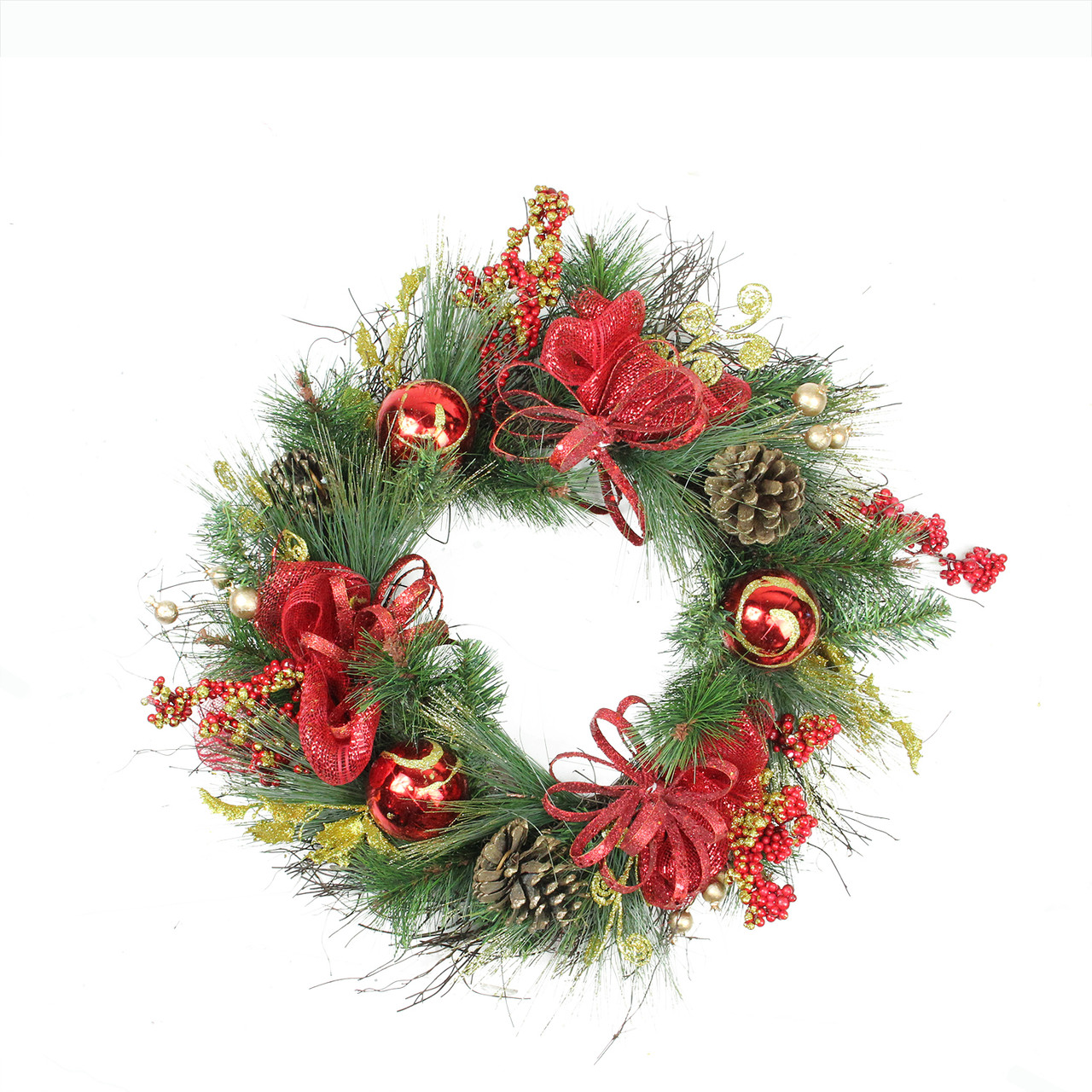 26 red ornament and berry gold glittered artificial christmas wreath unlit 32277499