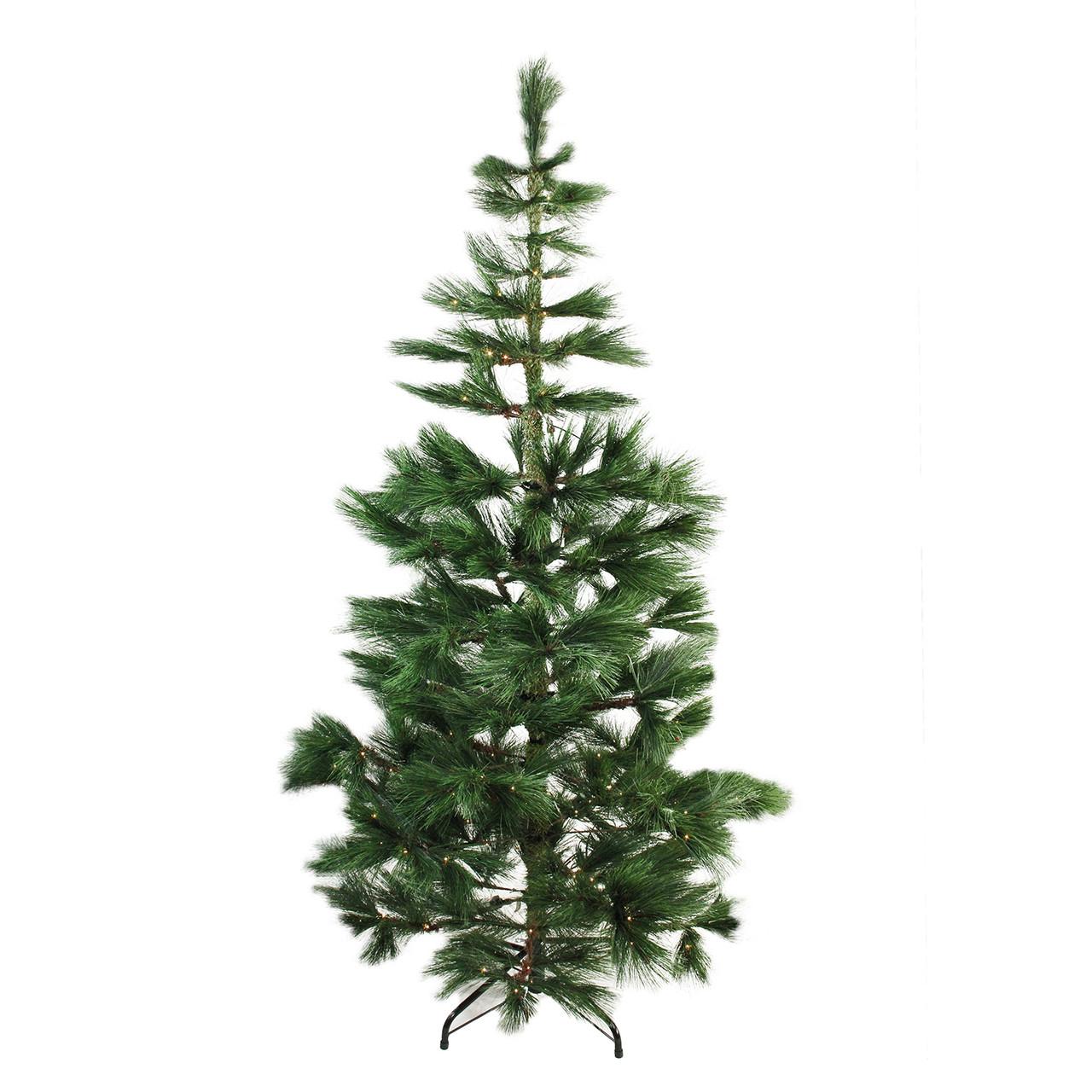 "7' x 48"" Pre-Lit Long Needle Pine Artificial Christmas ..."