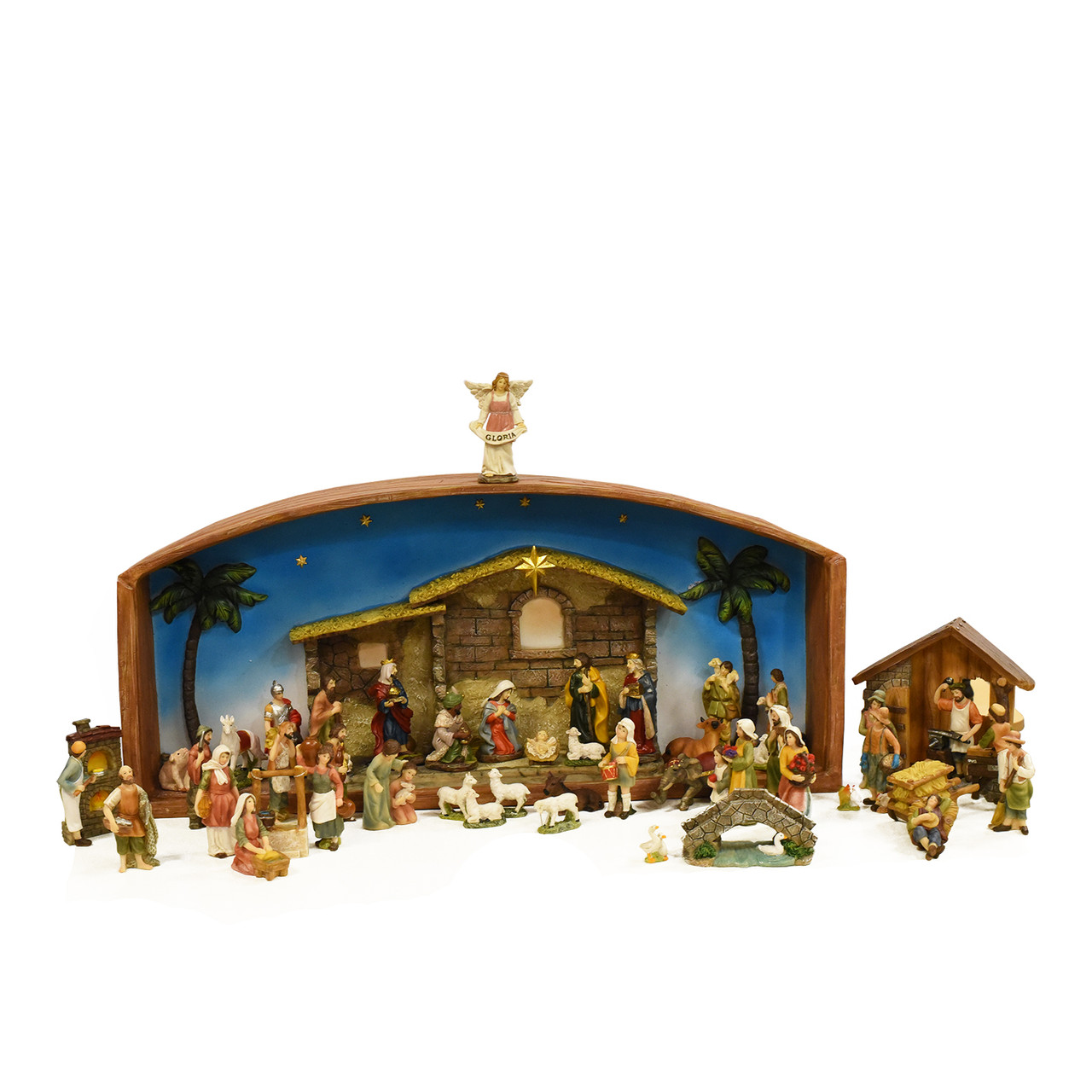 52-Piece Religious Christmas Nativity Village Set with Holy Family ...