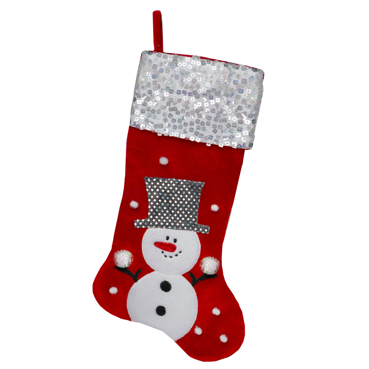 205 red and white snowman embellished and embroidered christmas stocking with sequined cuff 32231715 - Embroidered Christmas Stocking