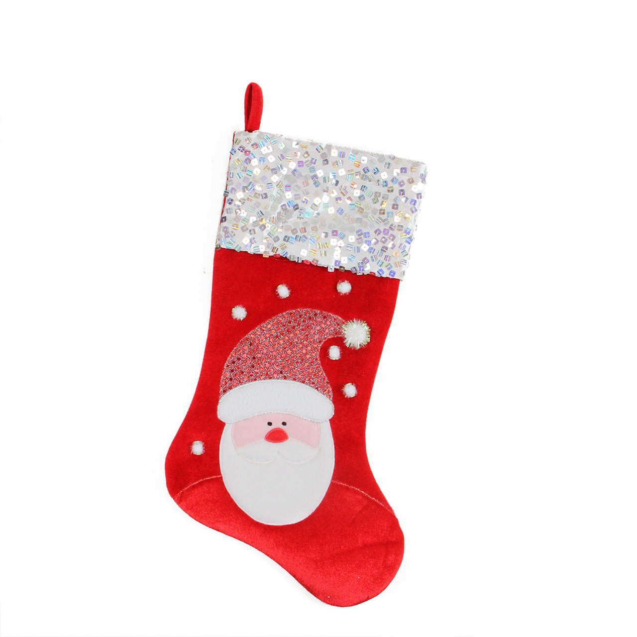 205 red and white santa claus embellished and embroidered christmas stocking with sequined cuff 32229650 - Red And White Christmas Stockings