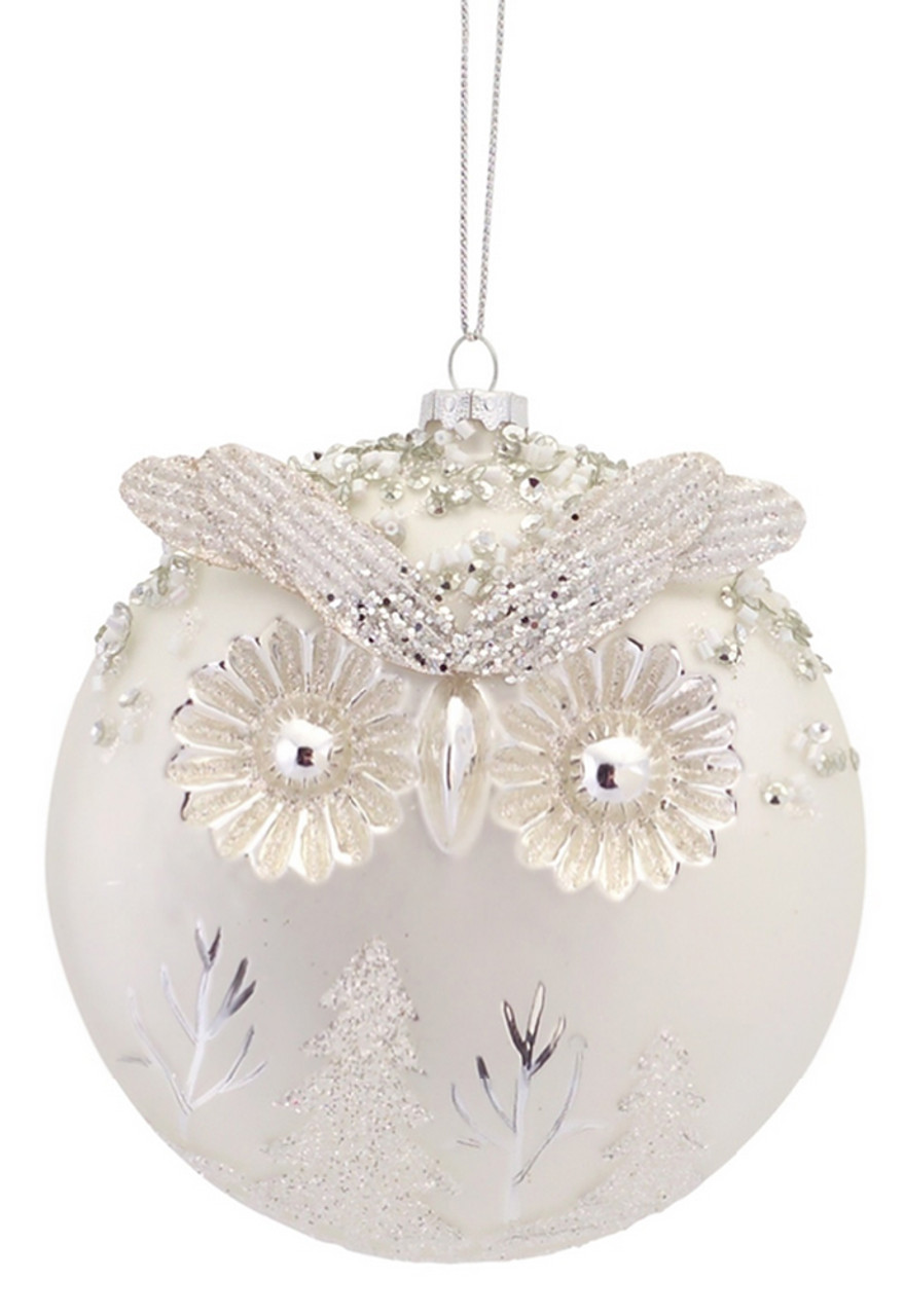 Pack of 6 Woodland Owl White and Silver Glass Ball Christmas Ornaments 5