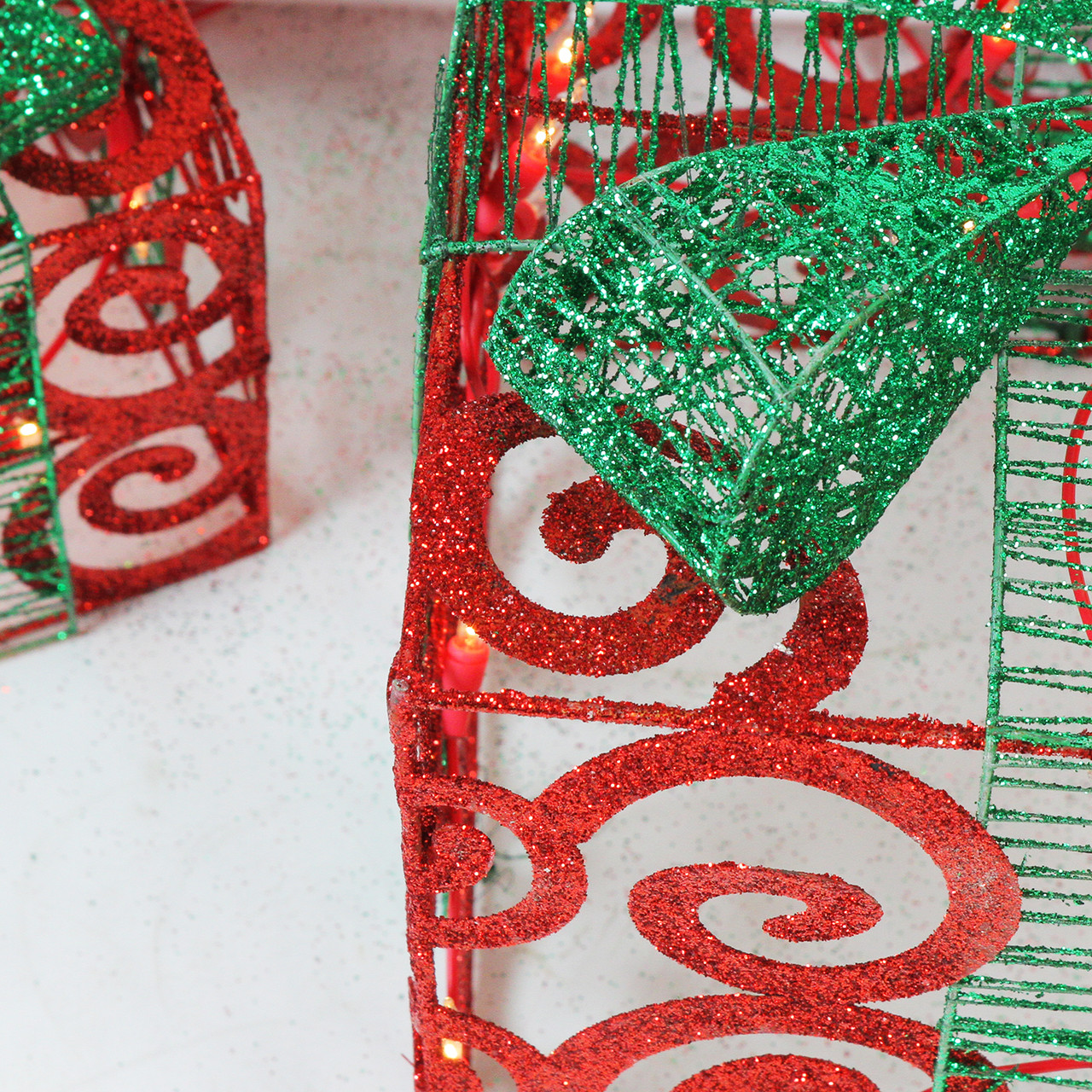 Set of 3 Lighted Sparkling Red Swirl Glitter Gift Boxes ...