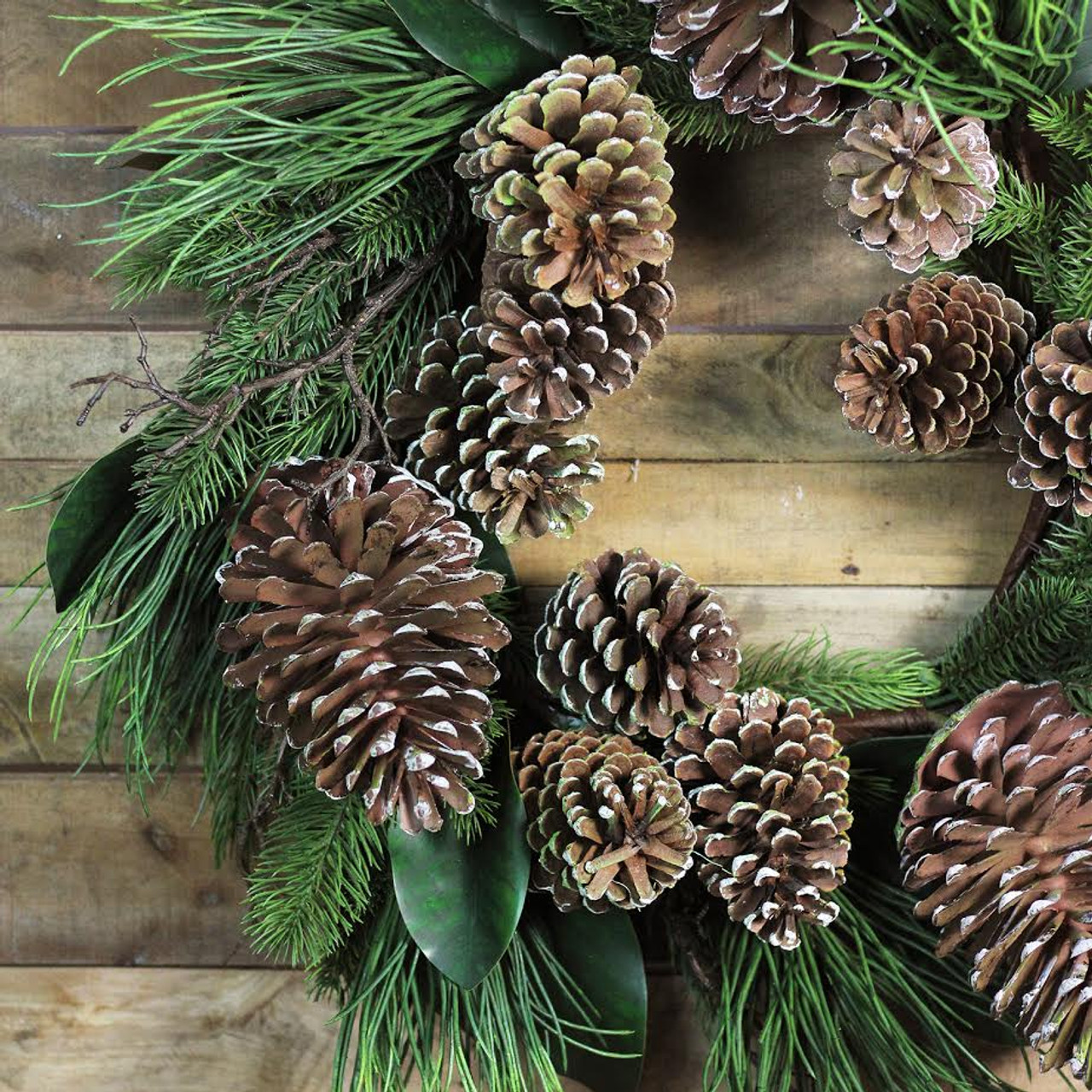 28 monalisa mixed pine with large pine cones and foliage christmas wreath unlit 32283274 - Decorating Large Pine Cones For Christmas