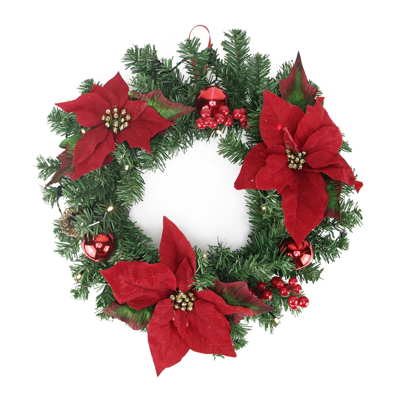 16 pre decorated lighted artificial pine and poinsettia christmas wreath warm white led lights 32283540