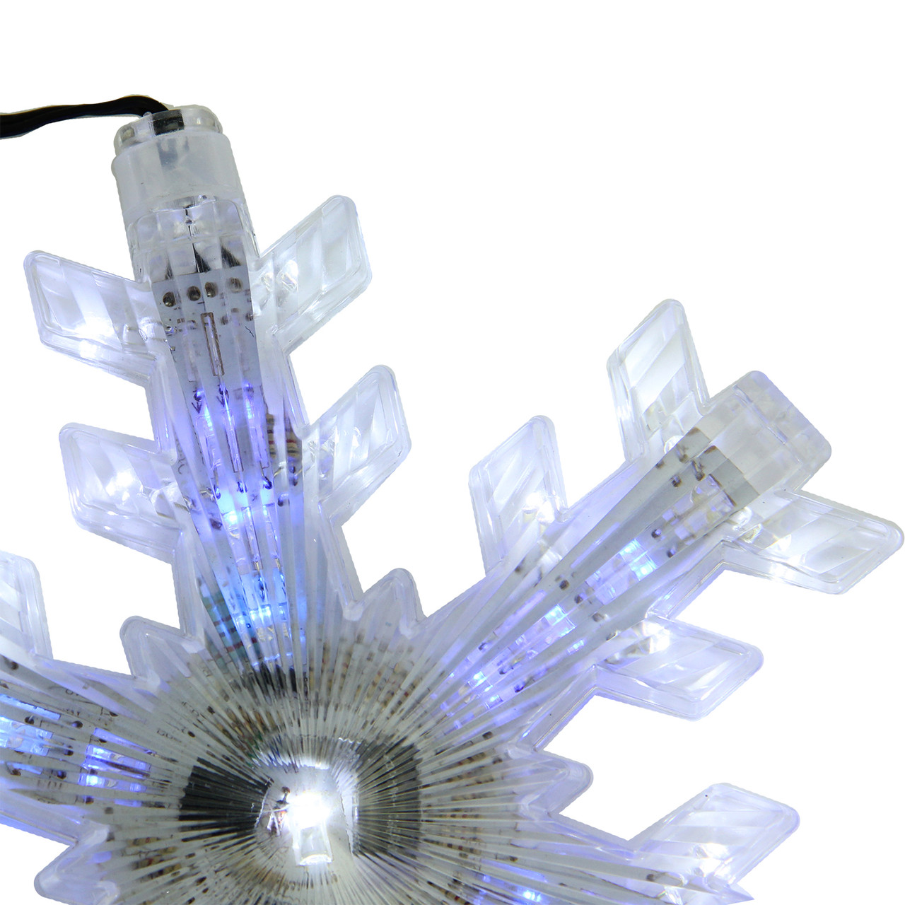 set of 3 cascading white and blue snowfall led snowflake christmas lights 65 32267172