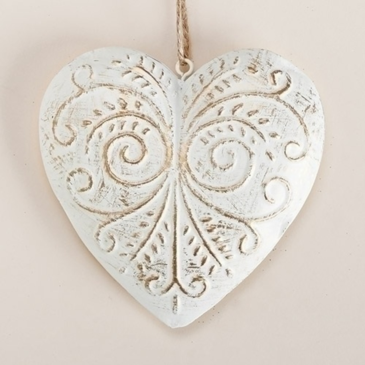 4 5 white gold decorative scrollwork metal heart for Decorative scrollwork