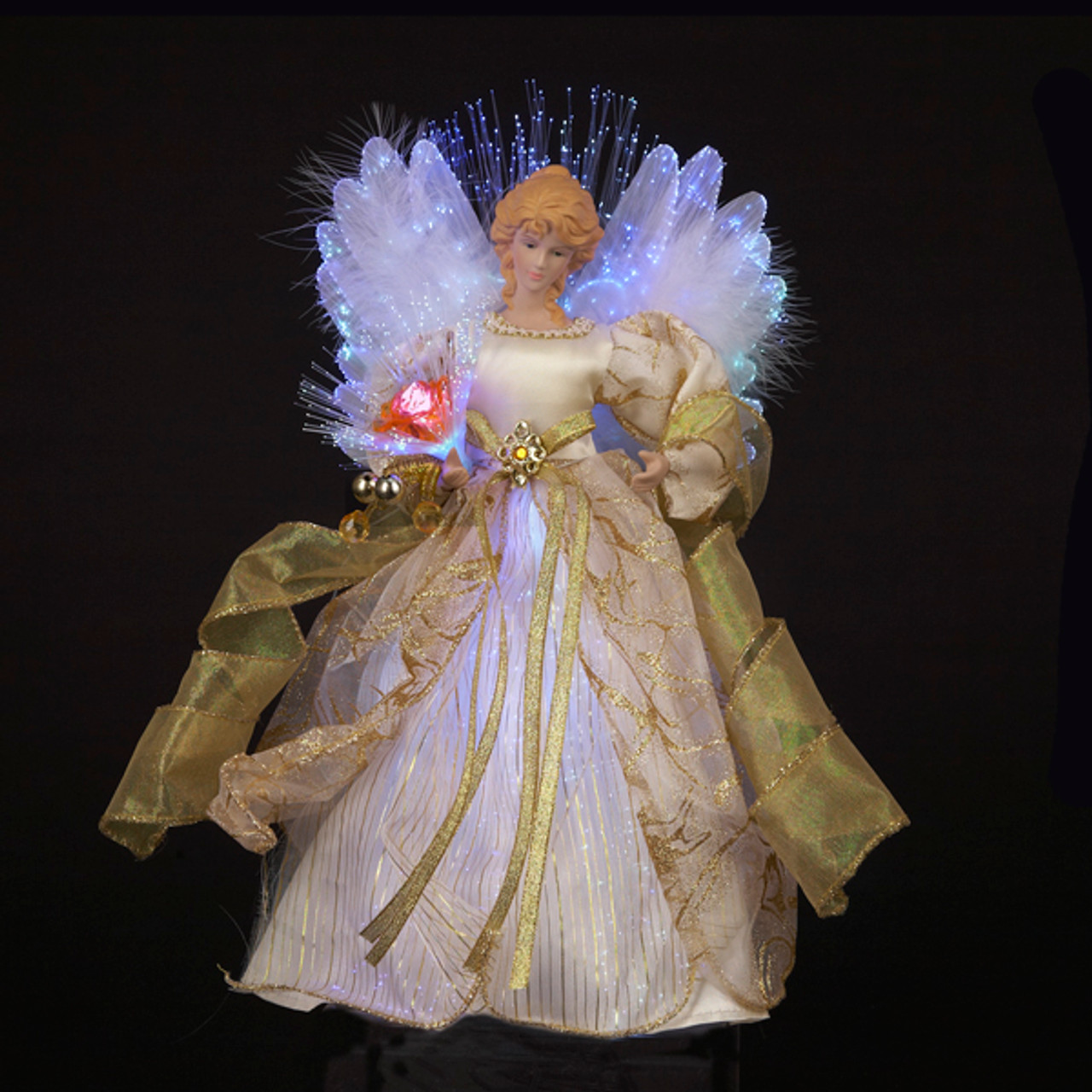 "12"" Ivory & Gold Lighted Fiber Optic Angel Christmas Tree ..."