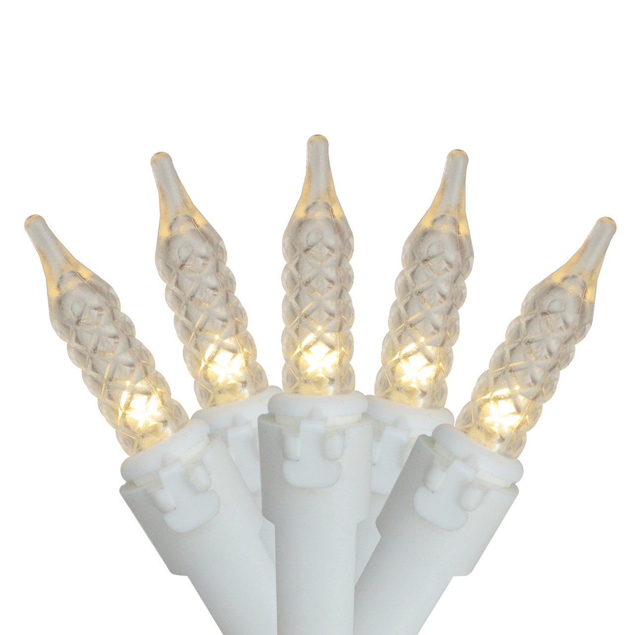 set of 100 warm white led m5 icicle christmas lights white wire 32551401
