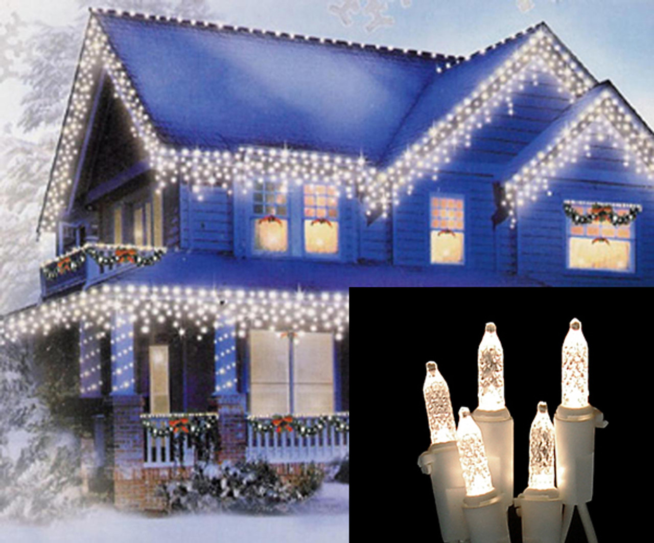 Set of 100 Warm White LED M5 Icicle Christmas Lights – White Wire ...