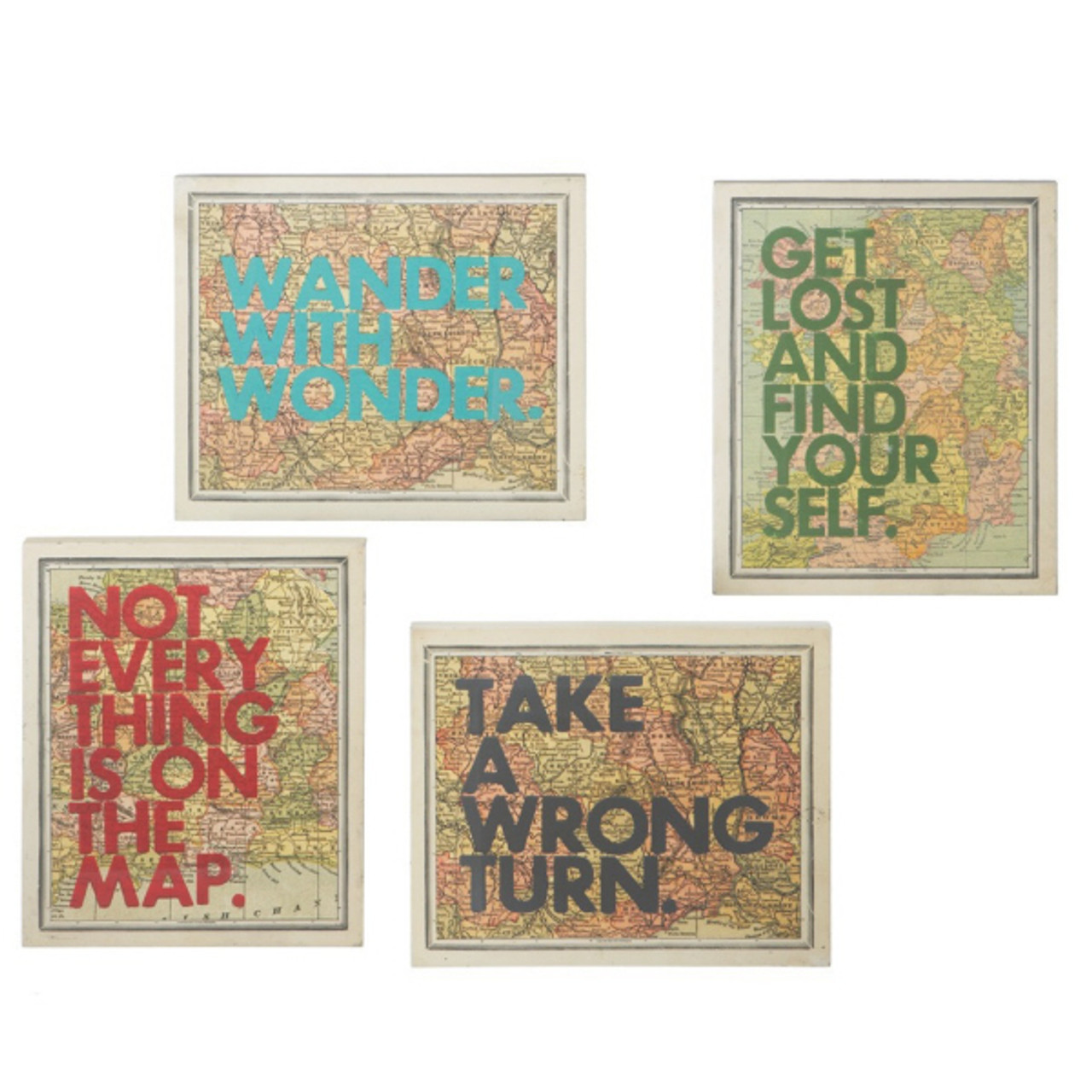 Set of 4 Inspirational Quote Colorful Framed Atlas Map Hanging Wall ...