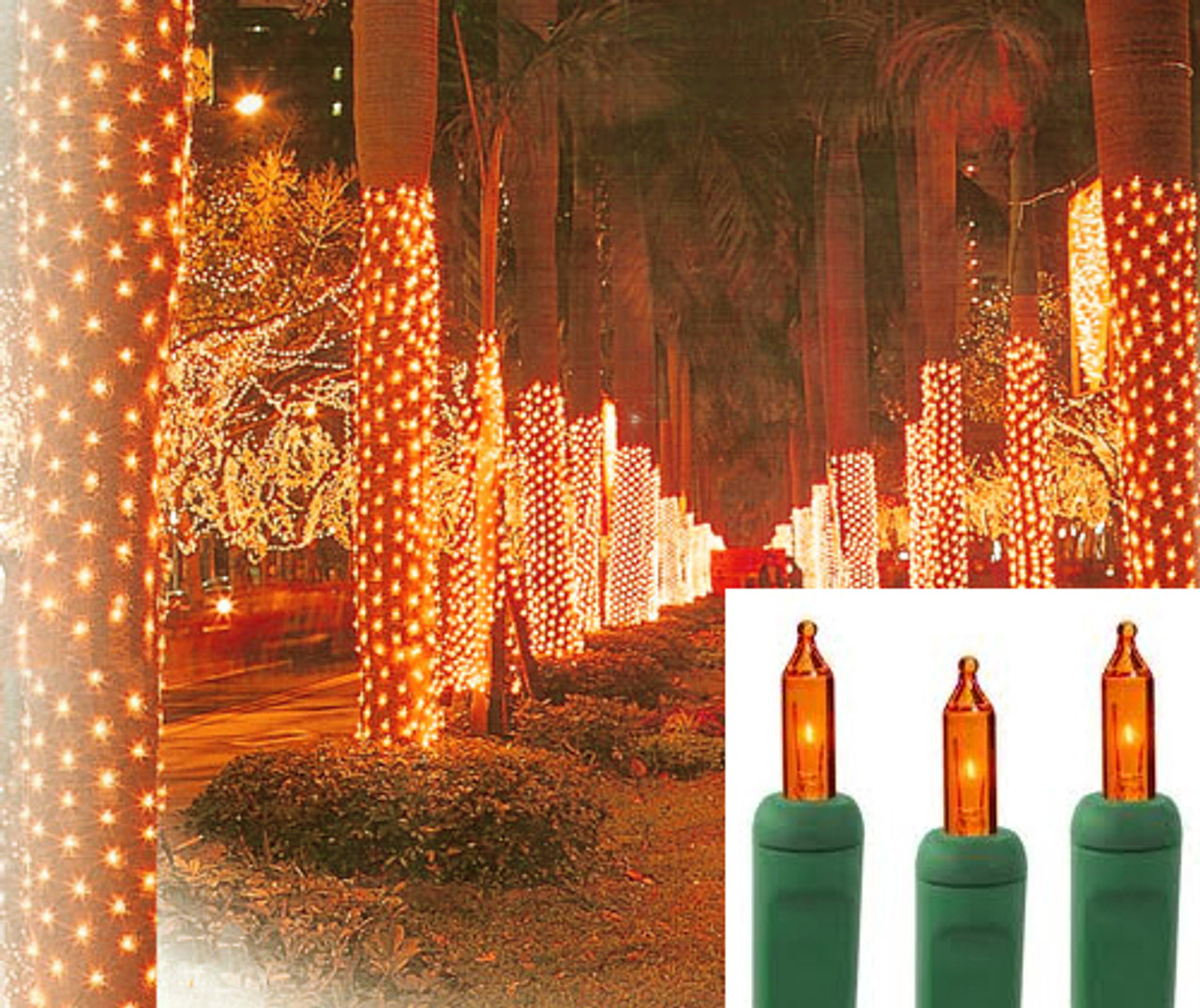 2 x 8 orange amber led net style tree trunk wrap christmas lights green wire 30930018