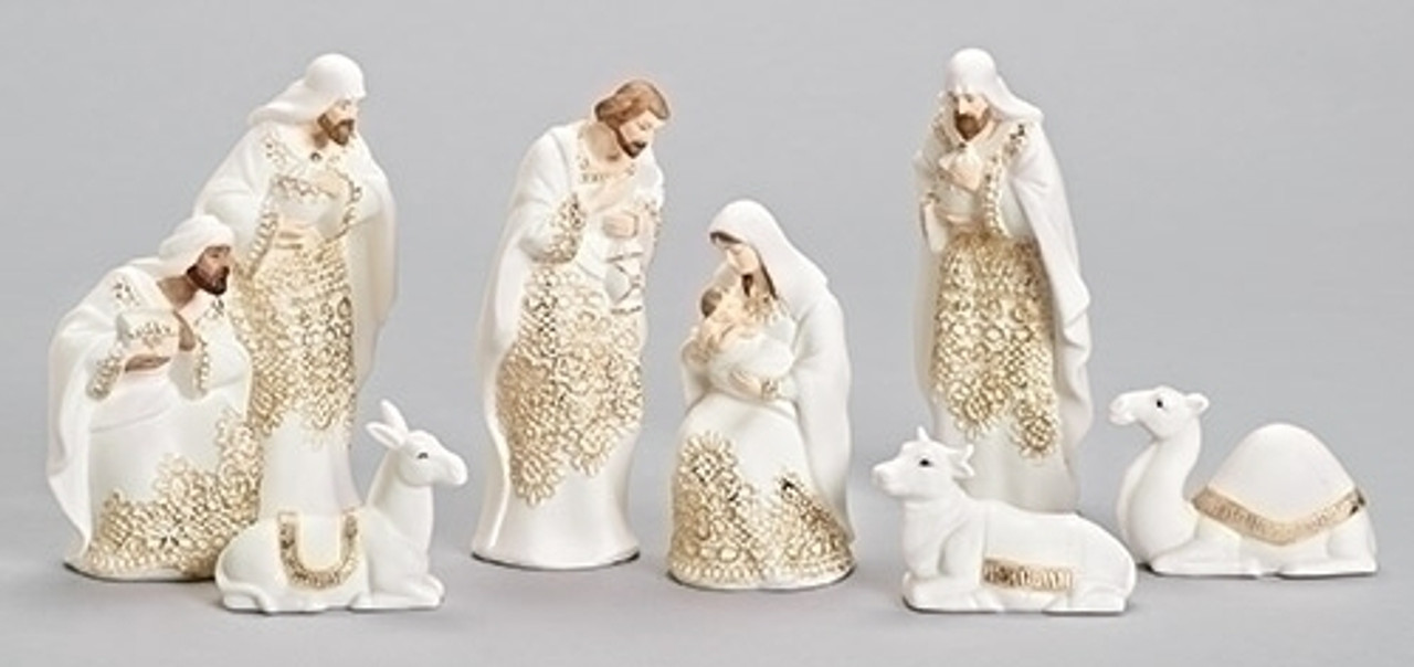 8-PIece Ivory & Gold Lace Embossed Religious Christmas Porcelain ...