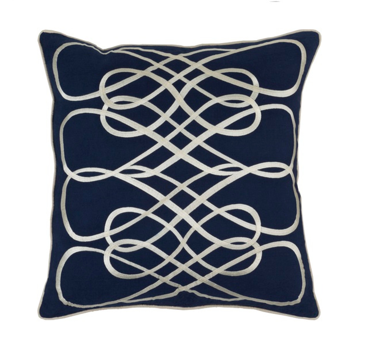18? Marine Blue & Cashmere White Woven Decorative Throw Pillow Christmas Central