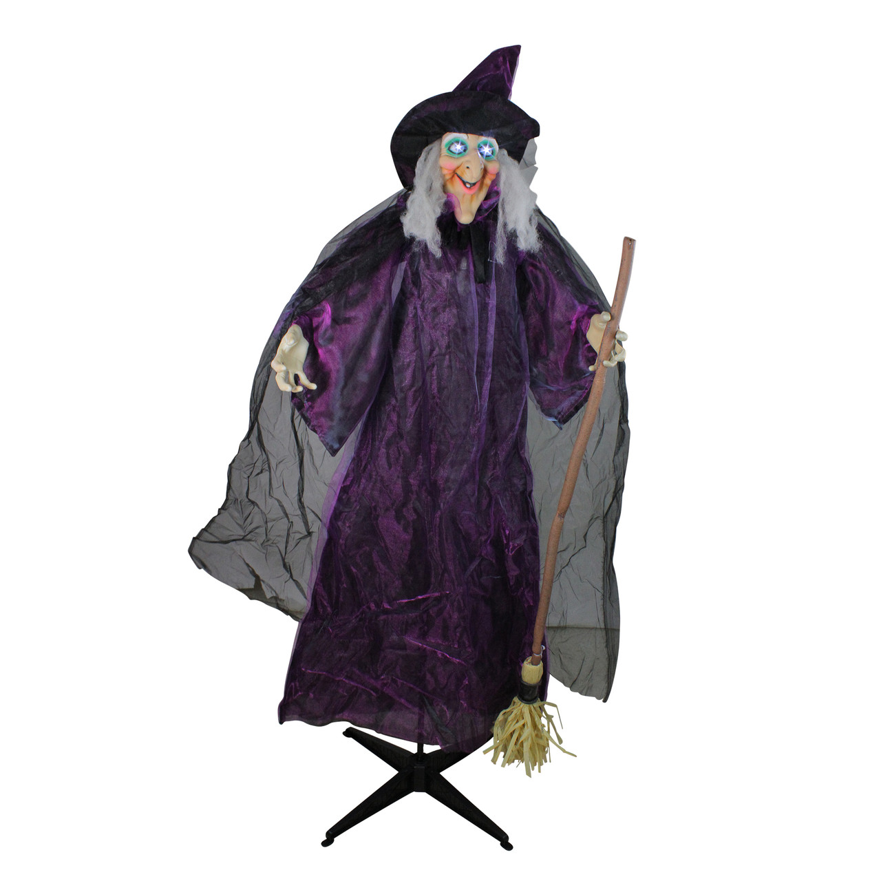 """66"""" touch activated lighted standing witch & broomstick animated"""