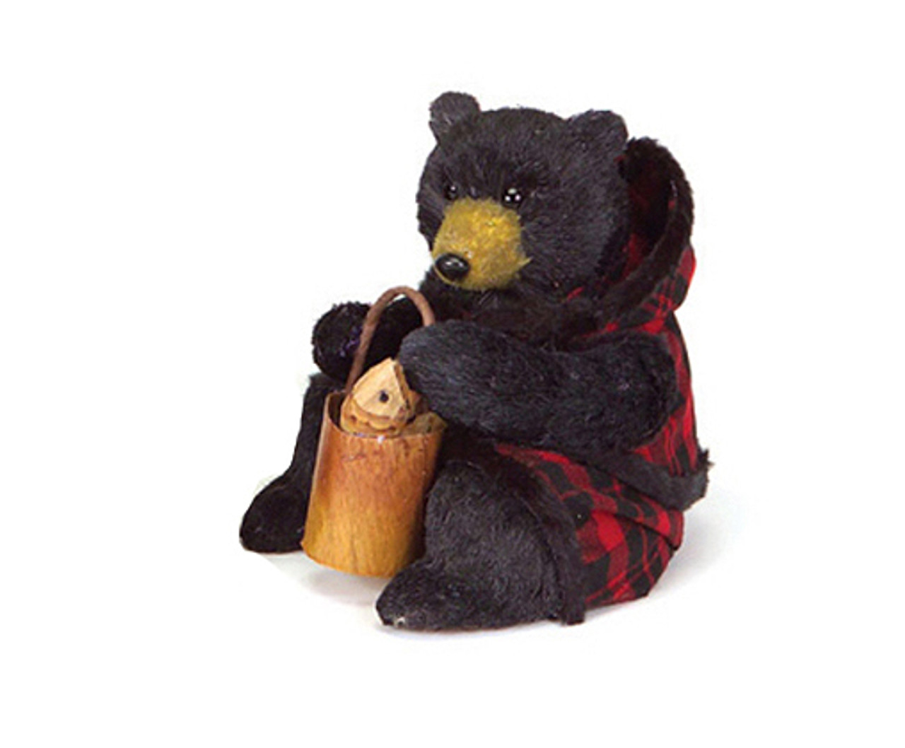 8 rustic lodge sitting black bear christmas figure in red plaid flaws 31345810