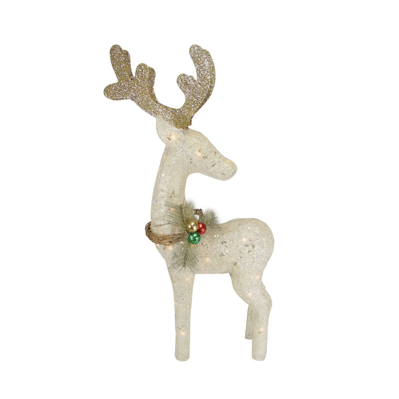 37 lighted sisal standing reindeer christmas outdoor decoration 31467160 - Lighted Animals Christmas Decoration