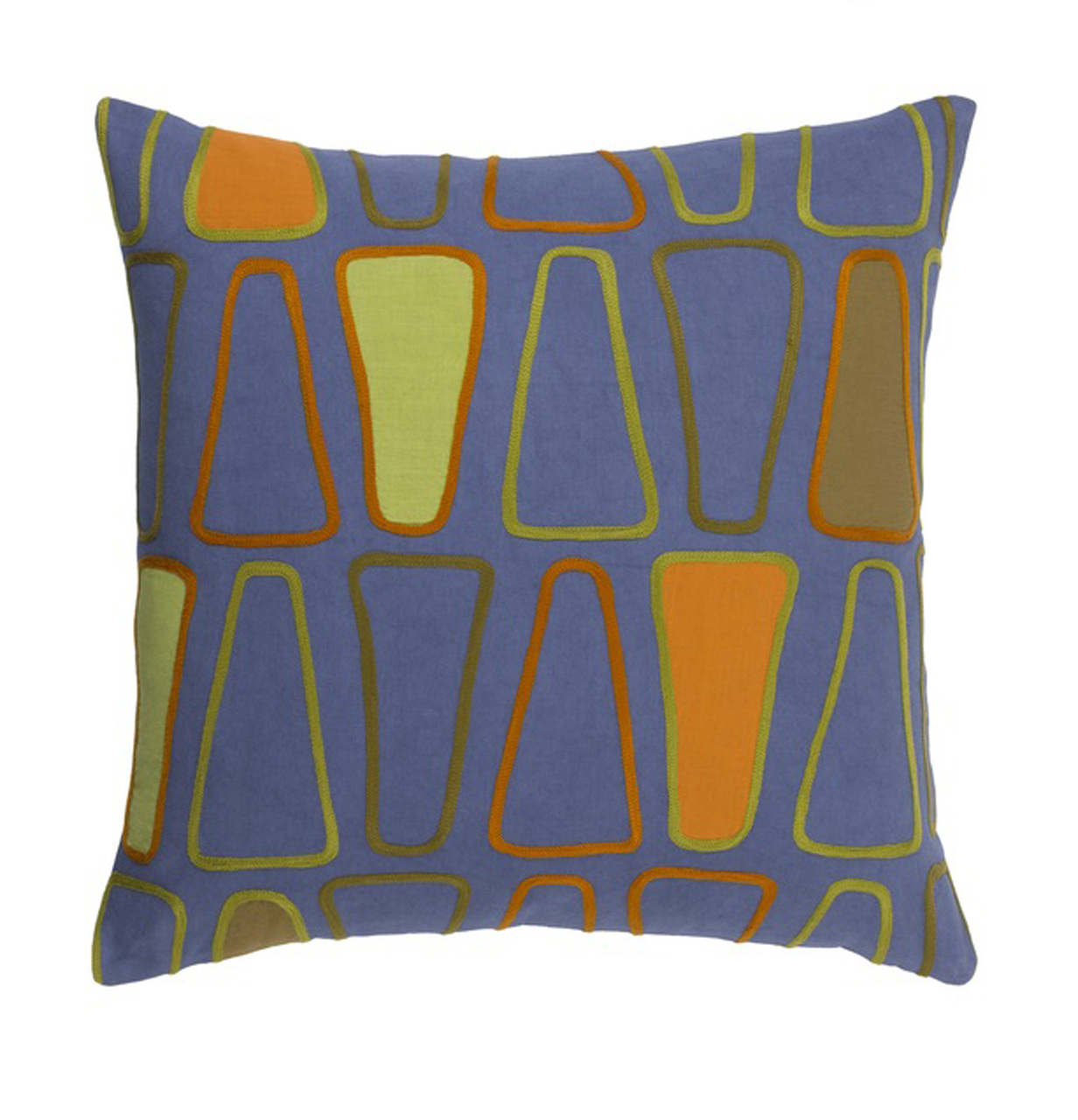 Blue Down Throw Pillows : 20? Indigo Blue, Golden Orange & Olive Drab Green Woven Decorative Throw Pillow-Down Filler ...
