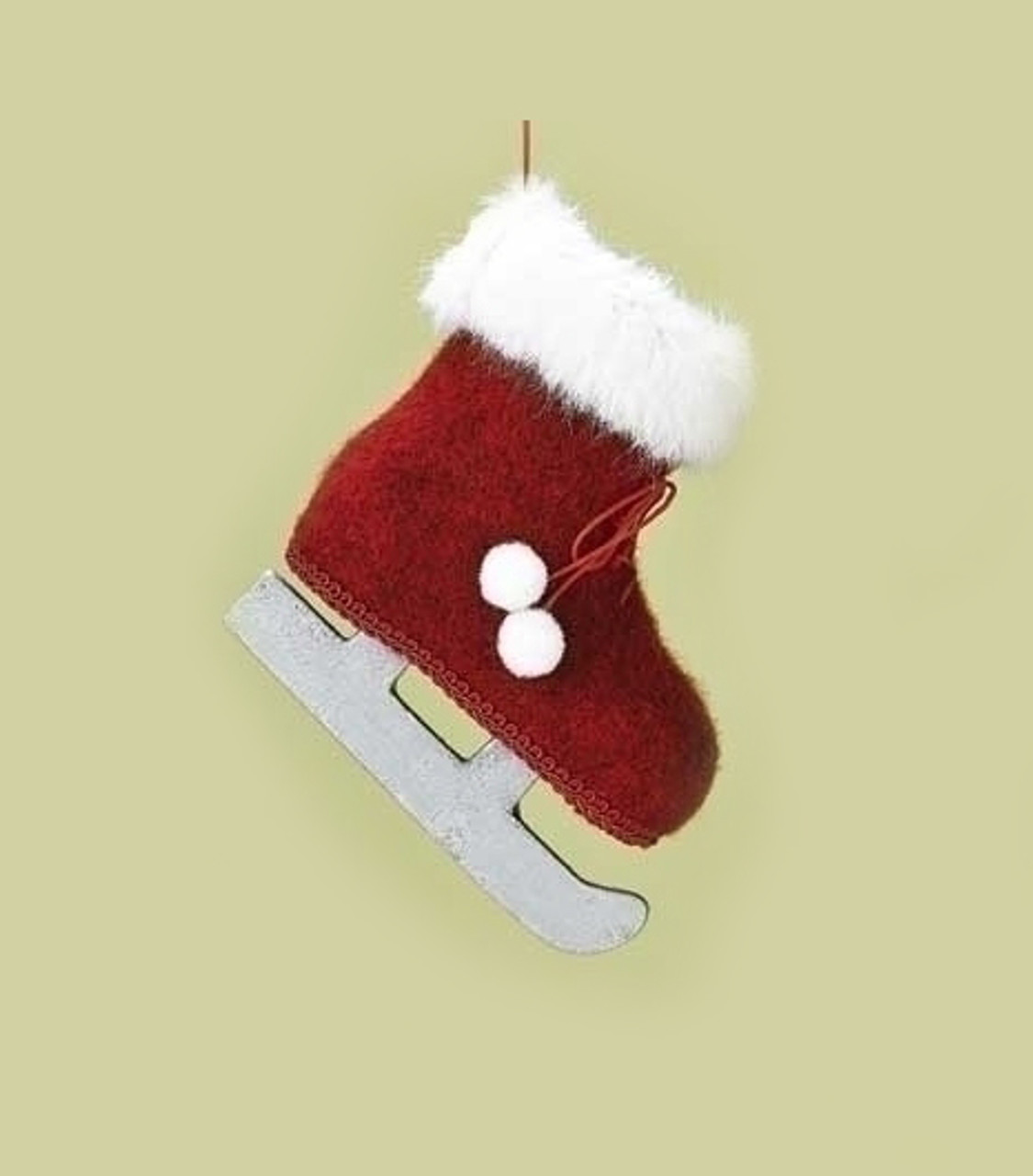 425 country alpine red and white faux fur trimmed ice skate christmas ornament with pom poms 31454762
