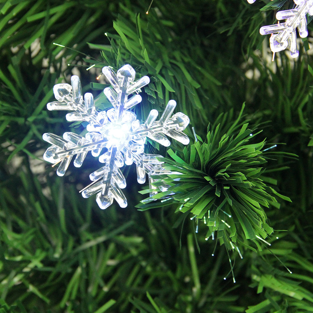 3u0027 Pre Lit Color Changing Fiber Optic Christmas Tree With Snowflakes    31466432