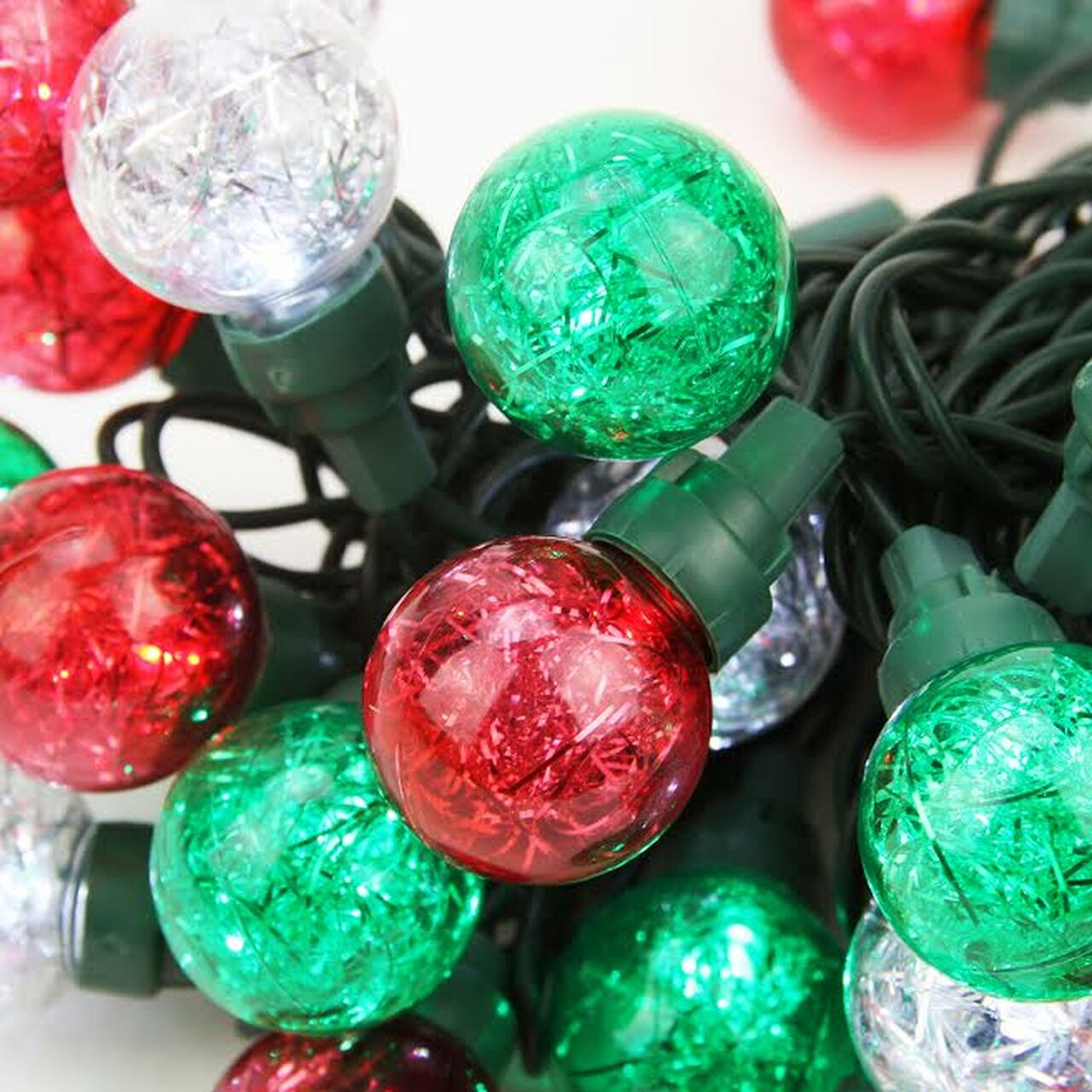 Set of 25 Red, Green, & Pure White Tinsel Wide Angle LED G30 Globe ...
