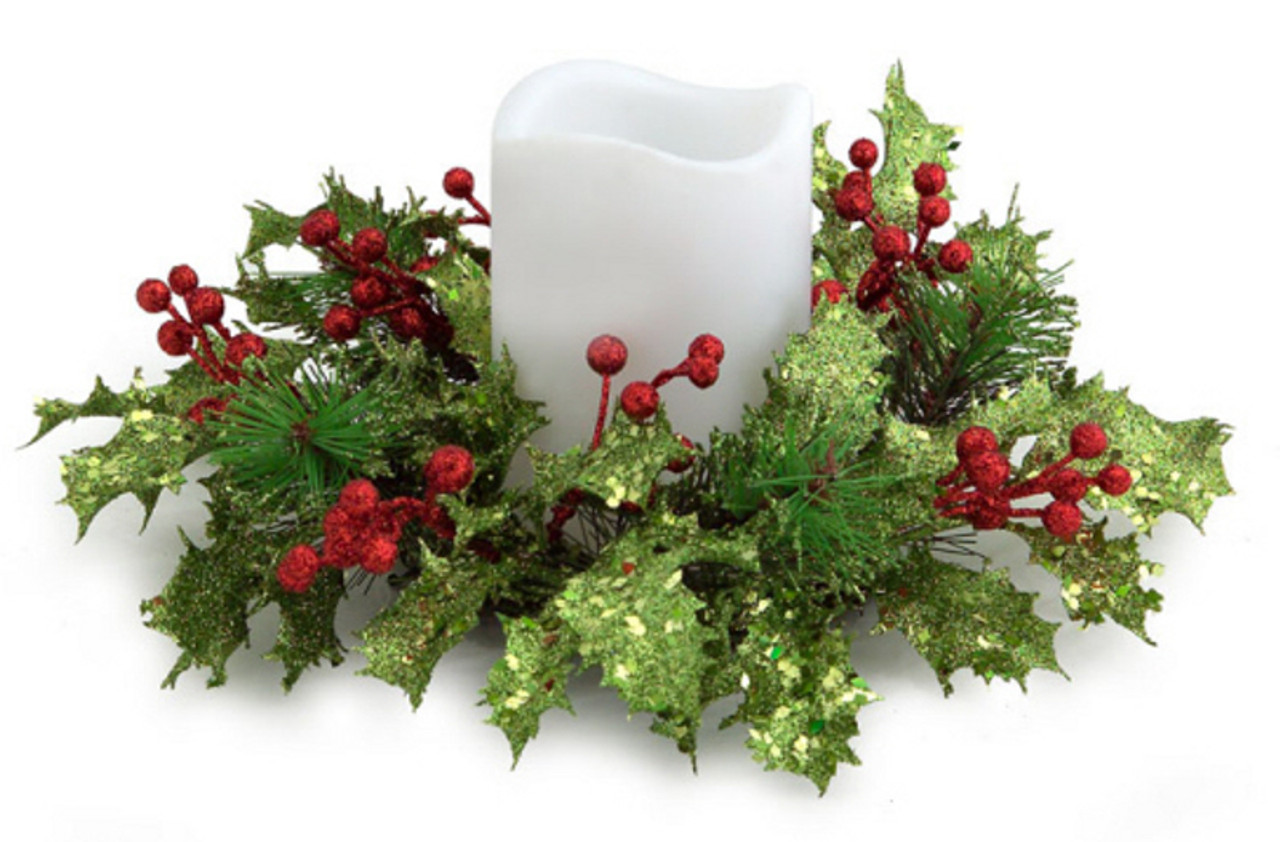 10 artificial christmas holly and red berry glitter pillar candle ring 31489851 - Decorative Christmas Candle Rings