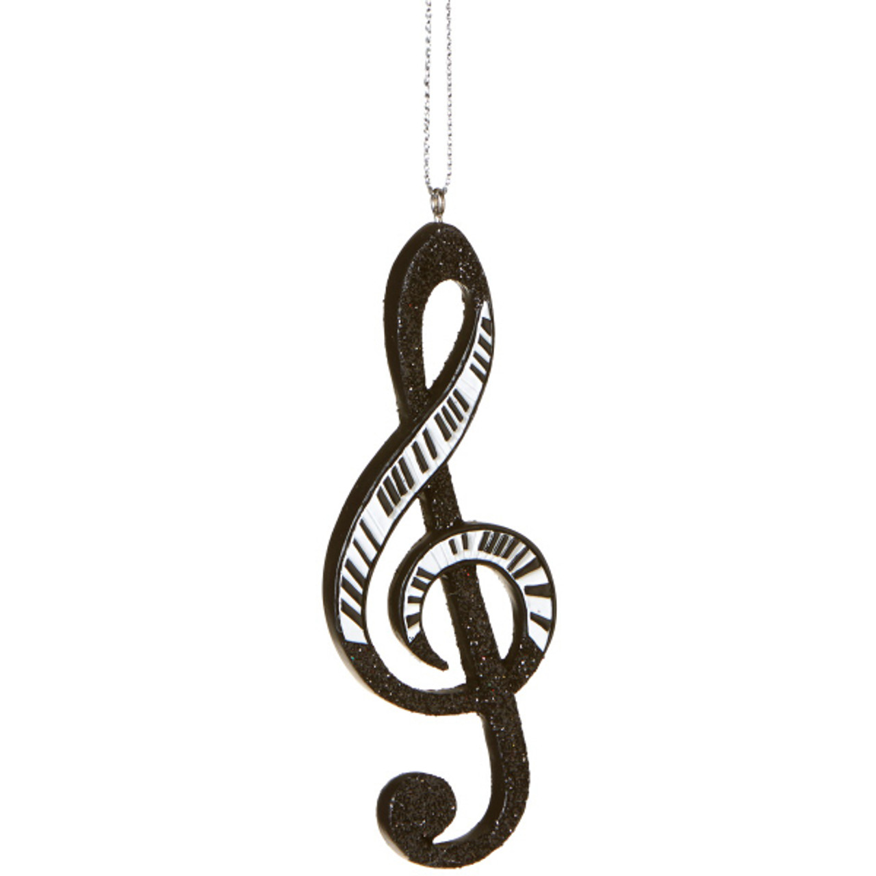 Glamour Time Black White Glittered Piano Treble Clef Musical Note