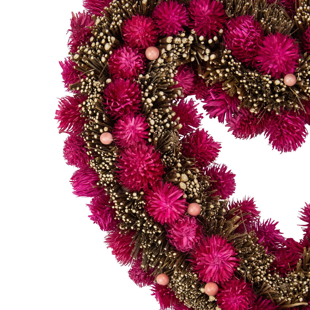135 Pink Flowers Berries Twig Heart Shaped Artificial Spring
