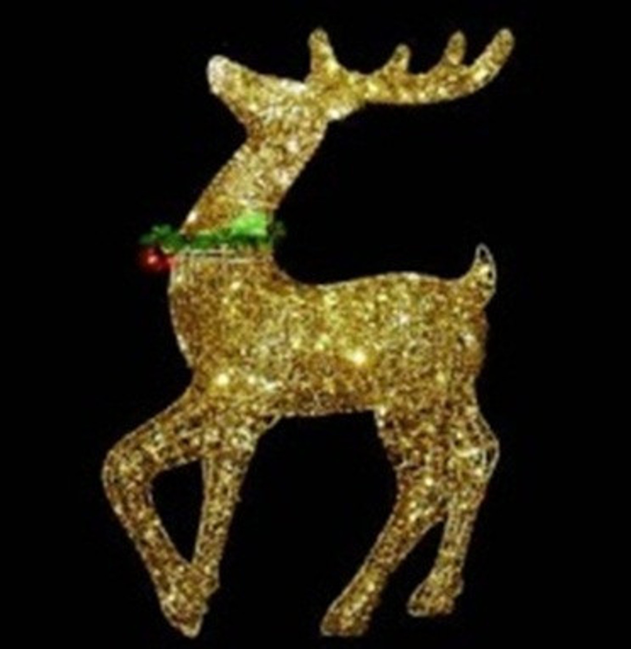 34 pre lit gold glittered prancing reindeer christmas outdoor decoration 31466984 - Metal Reindeer Christmas Decorations