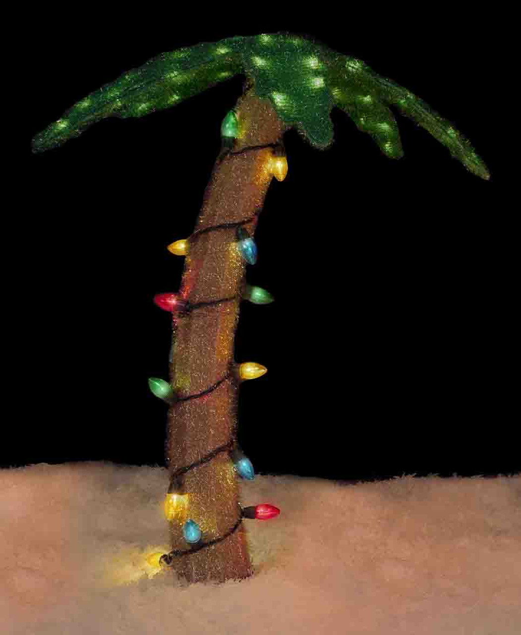 32 pre lit soft tinsel palm tree christmas yard art decoration clear lights 31303779