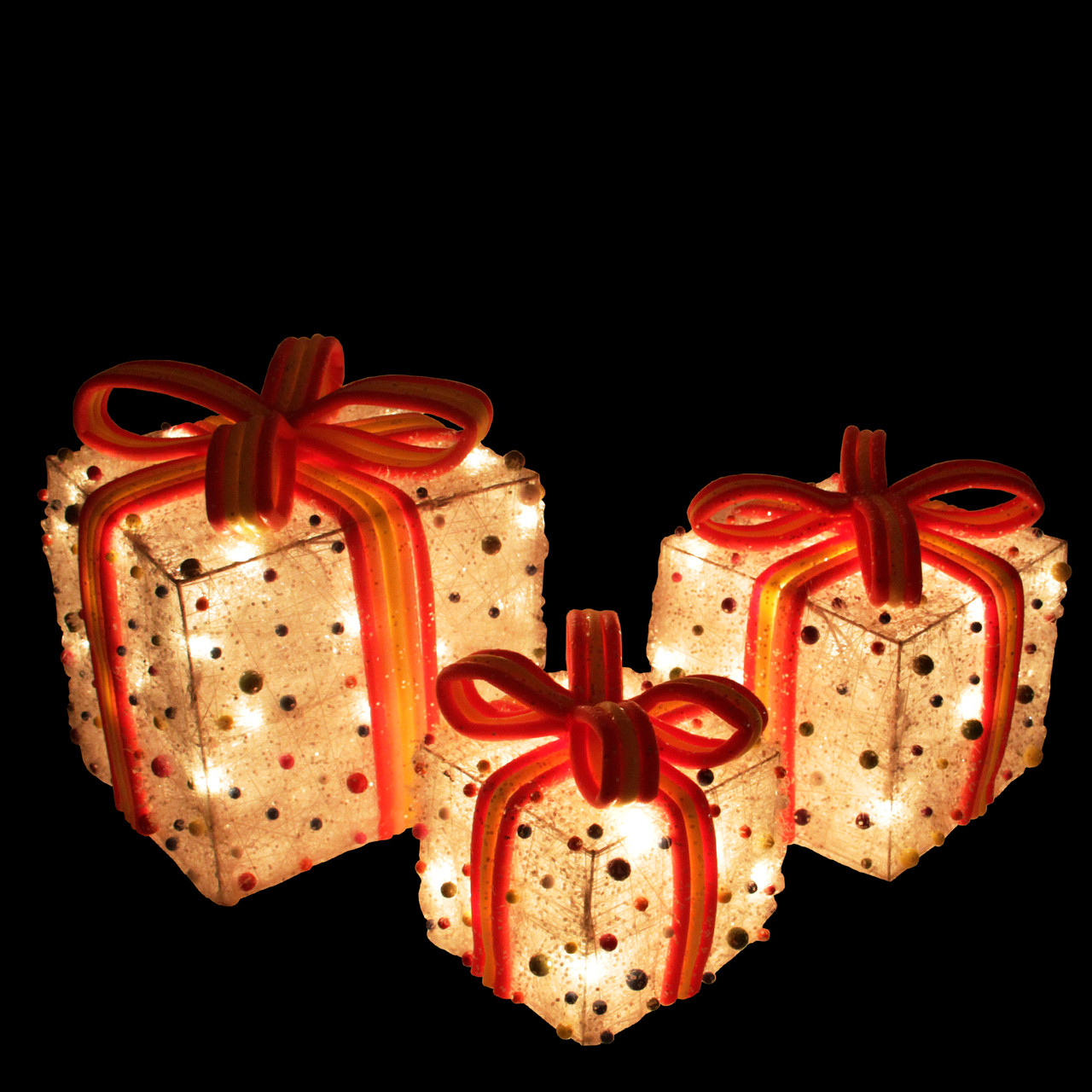 Set Of 3 White Lighted Tinsel Gift Boxes With Bows  U0026 Candy