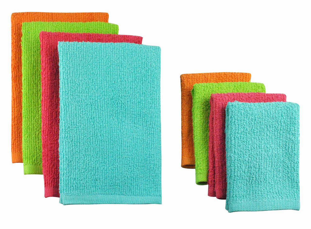 Pack of 8 Solid Tropical Colored Dish Towel & Wash Cloth Kitchen ...