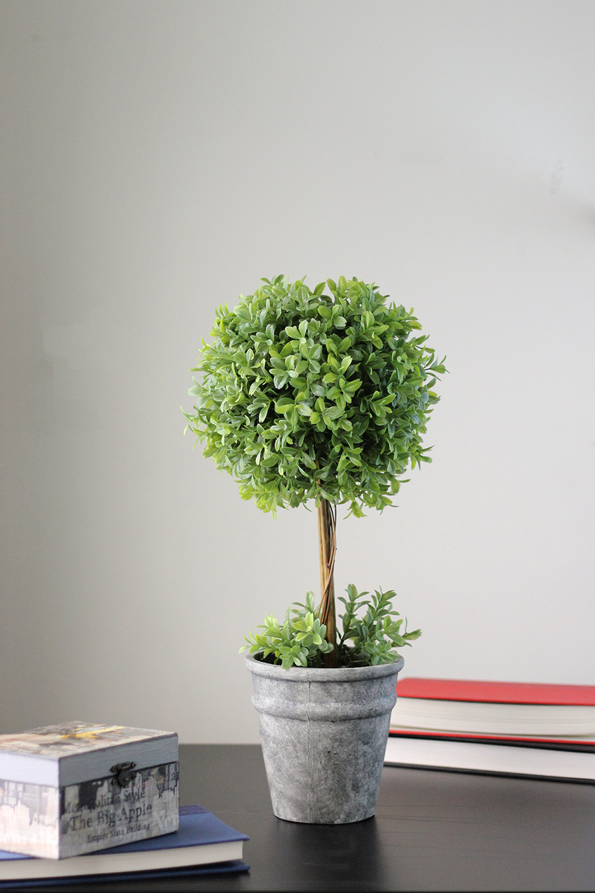 17 Artificial Boxwood Topiary In Decorative Distressed Gray Paper