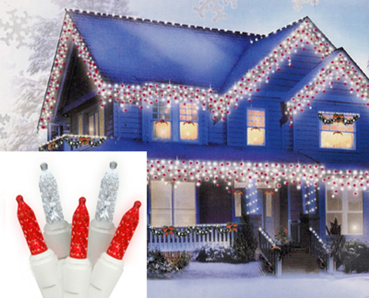 set of 70 red and cool white led m5 icicle christmas lights white wire 25233497